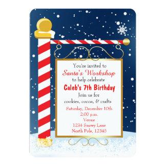 "North Pole Sign Christmas Event Party Invitation 5"" X 7"" Invitation Card"