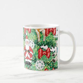North Pole Themed Mini Ornaments on Christmas Tree Coffee Mugs