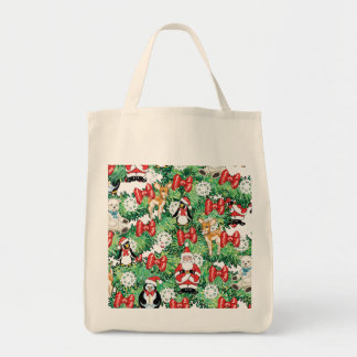 North Pole Themed Mini Ornaments on Christmas Tree Grocery Tote Bag