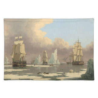 North Pole Three Masted Ships Ocean Scene Placemat