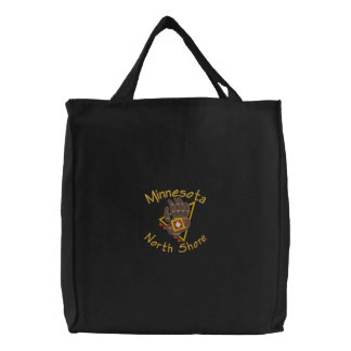 North Shore Bear Print Embroidered Tote Canvas Bags