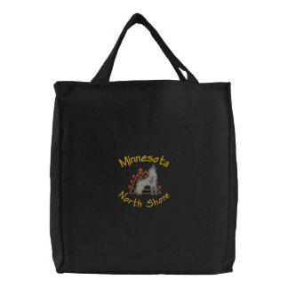 North Shore Wolf Embroidered Tote Canvas Bags