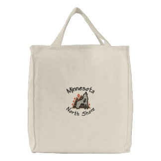 North Shore Wolf Embroidered Tote Embroidered Tote Bag