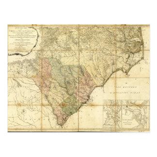 North & South Carolina Map (1775) Postcard