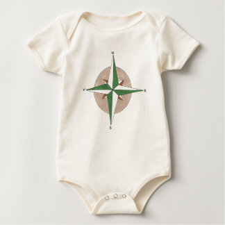 North South East West Compass Hiking Camping Camp Baby Bodysuit
