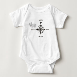 North South East & Westie Dog Baby Bodysuit