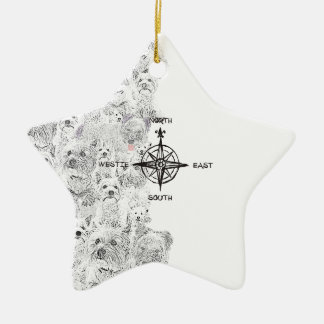 North South East & Westie Dog Ceramic Ornament