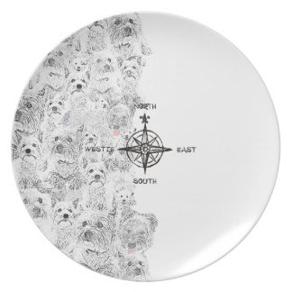 North South East & Westie Dog Dinner Plates