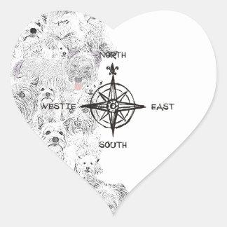 North South East & Westie Dog Heart Sticker