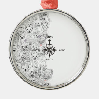 North South East & Westie Dog Metal Ornament