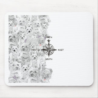 North South East & Westie Dog Mouse Pad