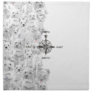 North South East & Westie Dog Printed Napkin