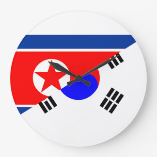 north south korea half flag country symbol large clock