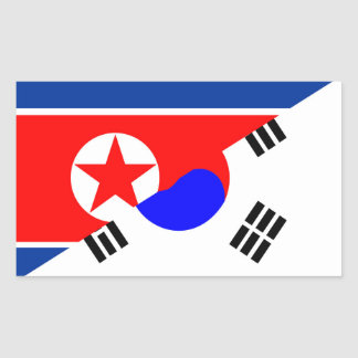 north south korea half flag country symbol rectangular sticker