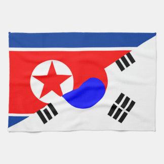 north south korea half flag country symbol tea towel