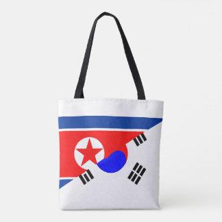 north south korea half flag country symbol tote bag