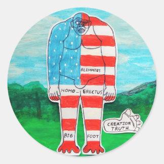 North U.S.A, flag big foot Homo erectus. Round Sticker
