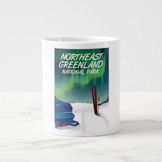 Northeast Greenland travel poster Large Coffee Mug