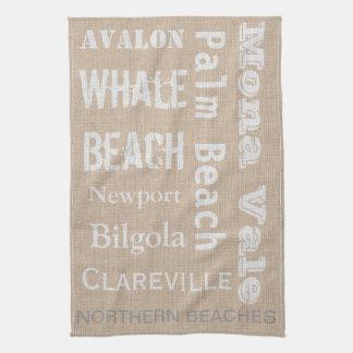 Northern Beaches linen-look Tea Towel