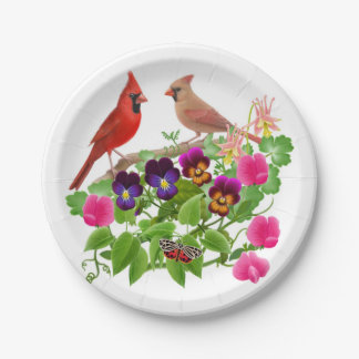 Northern Cardinal Birds in Garden Paper Plates