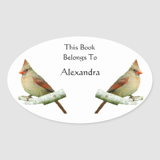 Northern Cardinal bookplate stickers