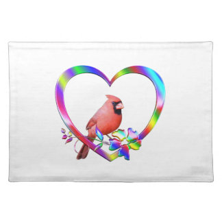 Northern Cardinal in Colorful Heart Placemat