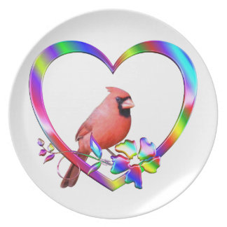 Northern Cardinal in Colorful Heart Plate