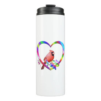 Northern Cardinal in Colorful Heart Thermal Tumbler