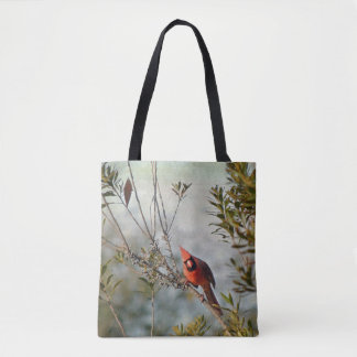 Northern Cardinal in Wax Myrtle Tote Bag