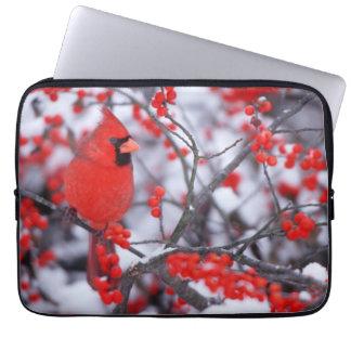 Northern Cardinal male, Winter, IL Laptop Sleeve