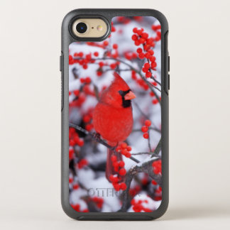 Northern Cardinal male, Winter, IL OtterBox Symmetry iPhone 8/7 Case
