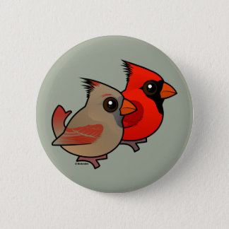 Northern Cardinal Pair 6 Cm Round Badge