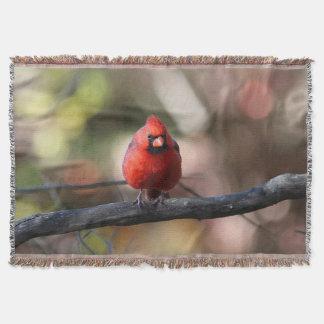 Northern cardinal throw blanket