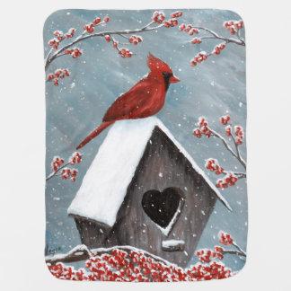 Northern Cardinal Winter Snow Baby Blanket