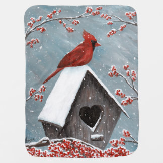 Northern Cardinal Winter Snow Buggy Blanket