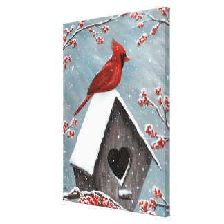 Northern Cardinal Winter Snow Canvas Print