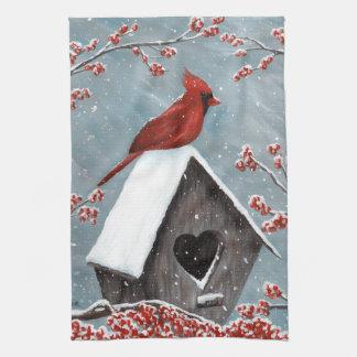 Northern Cardinal Winter Snow Tea Towel