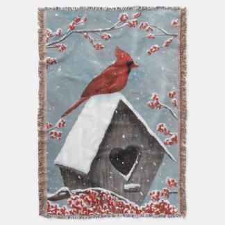 Northern Cardinal Winter Snow Throw Blanket