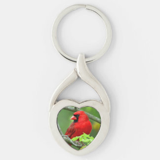 Northern cardinals Silver-Colored twisted heart key ring