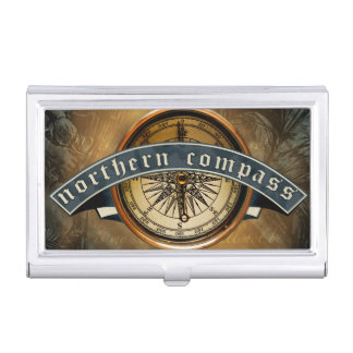 Northern Compass Business Card Holder