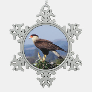 Northern Crested Caracara Bird of Prey on tree Snowflake Pewter Christmas Ornament