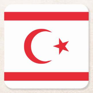 Northern Cyprus Flag Square Paper Coaster