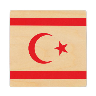 Northern Cyprus Flag Wood Coaster