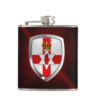 Northern Ireland Metallic Emblem Hip Flask