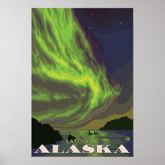 Northern Lights and Orcas - Latouche, Alaska Poster