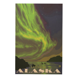 Northern Lights and Orcas - Latouche, Alaska Wood Canvas
