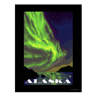 Northern Lights and Orcas Vintage Travel Postcard