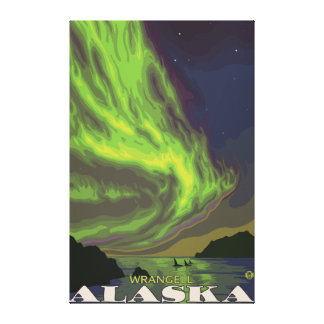 Northern Lights and Orcas - Wrangell, Alaska Stretched Canvas Print