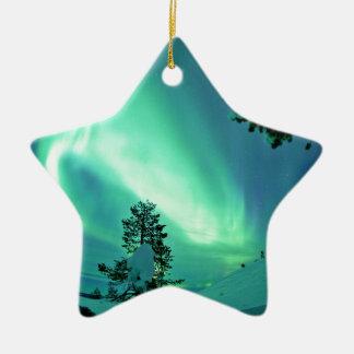 Northern Lights at Winter Ceramic Star Decoration