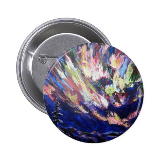 Northern Lights Aurora Abstract Art Painting 6 Cm Round Badge